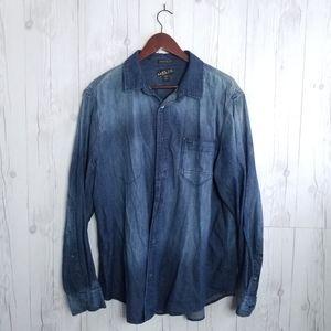 Helix • Casual LS Denim Shirt • SZ XL